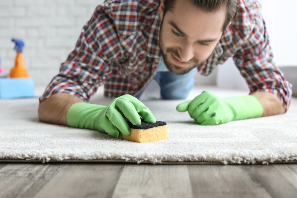 Man wearing gloves cleans his carpet with a sponge